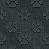 Paw dark seamless vector background with 3D effect.