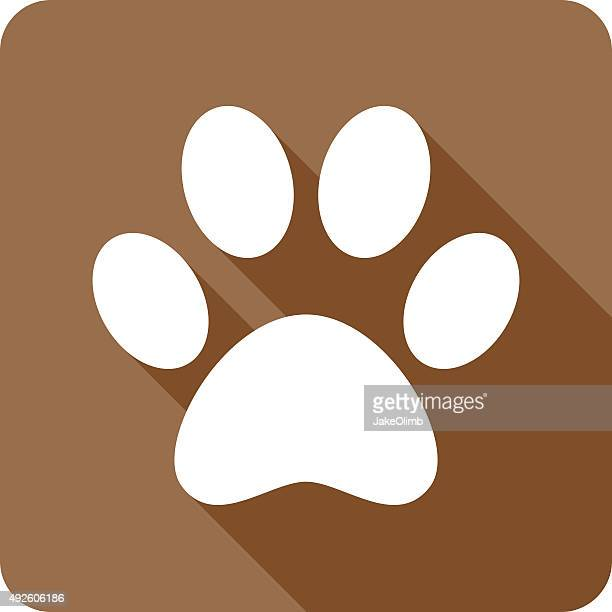 paw print icon silhouette - animal track stock illustrations, clip art, cartoons, & icons
