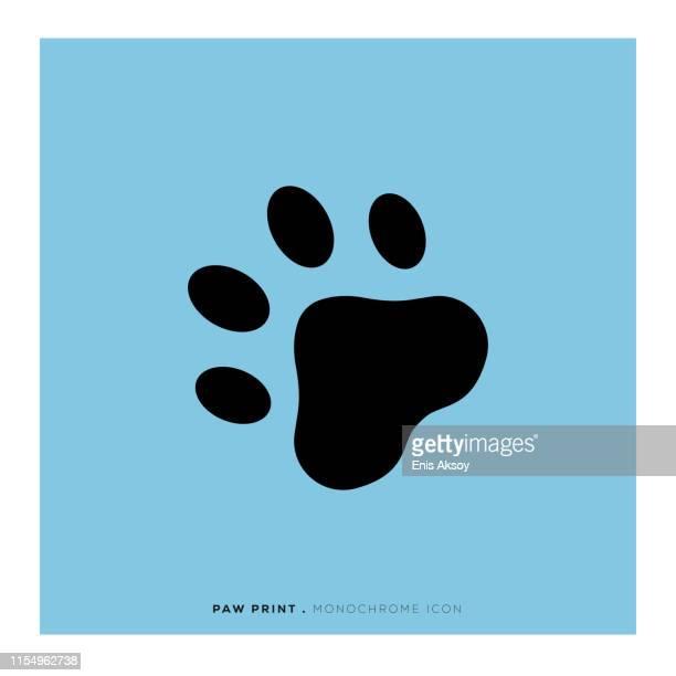 paw print icon - bear tracks stock illustrations