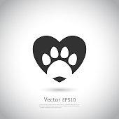 Paw print inside heart icon.