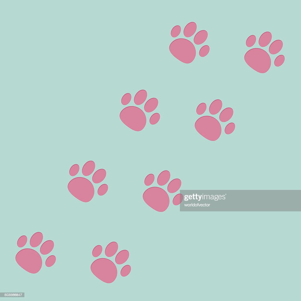 Paw print track diagonal. Blue and pink.