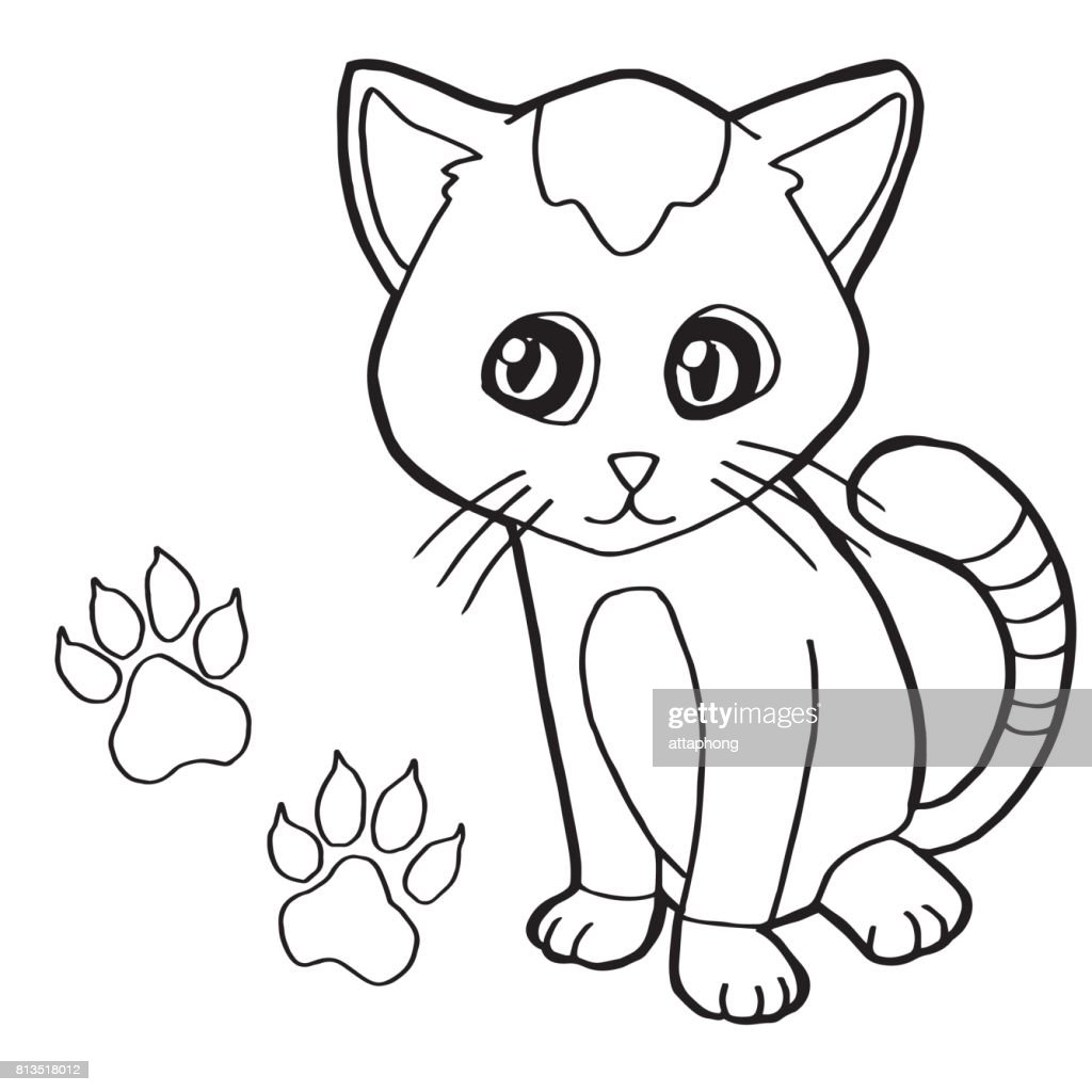 Paw Print With Cat Coloring Page Vector stock vector | Getty Images