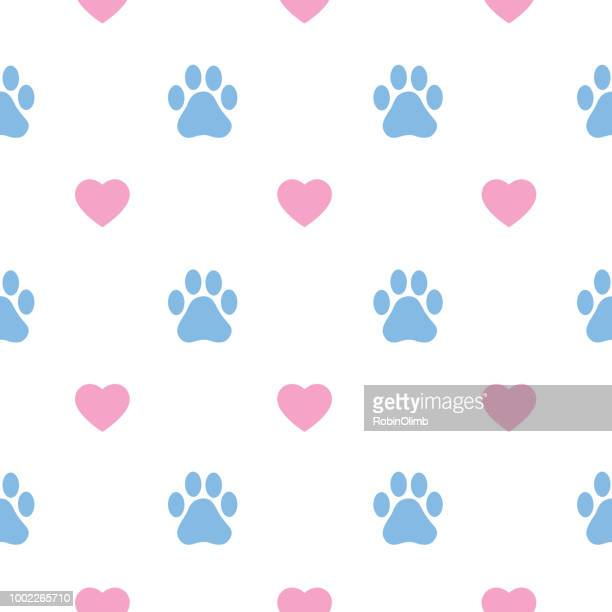 ilustrações de stock, clip art, desenhos animados e ícones de paw prints and hearts seamless pattern - pegadadepatadeanimal