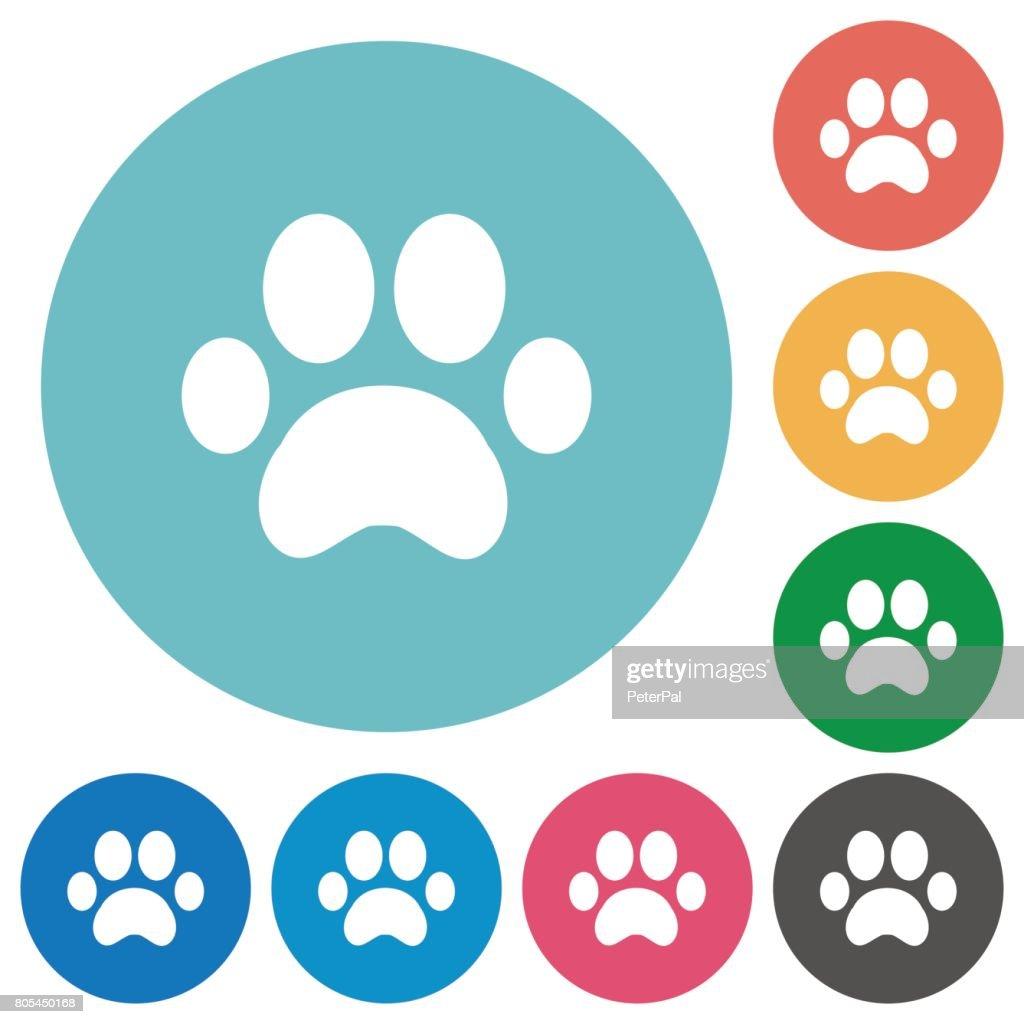 Paw prints flat round icons