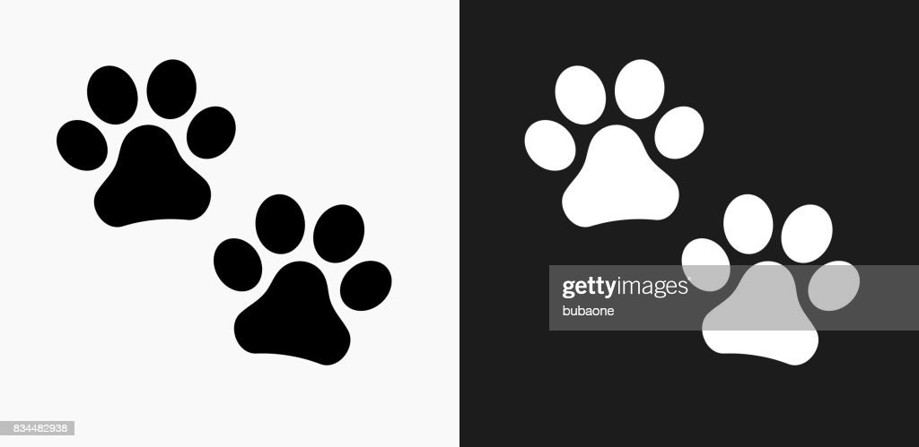 Paw Prints Icon on Black and White Vector Backgrounds