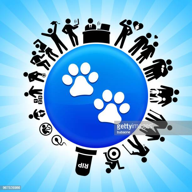 paw prints lifecycle stages of life background - animal fetus stock illustrations, clip art, cartoons, & icons