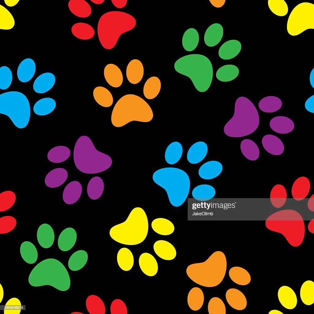 Paw Prints Pattern Colorful