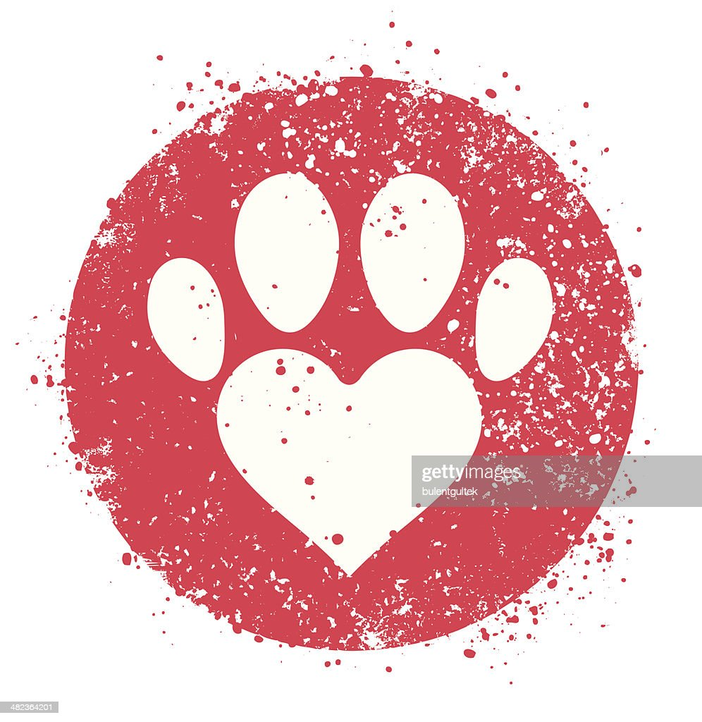 Paw sign with heart shape