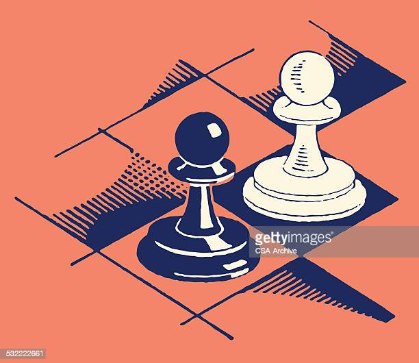 pawns on chess board - chess stock illustrations
