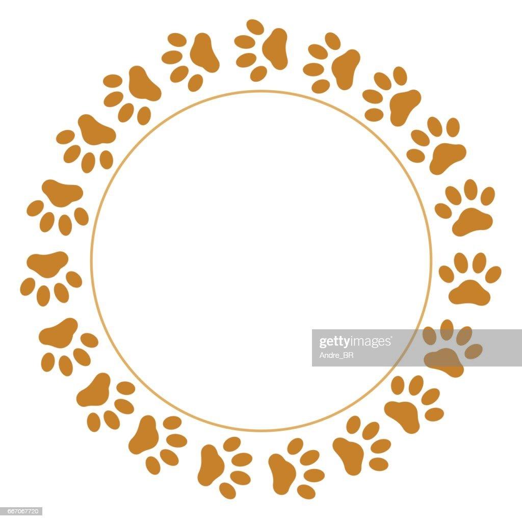 Paws animal prints round frame
