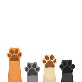 Paws up background vector
