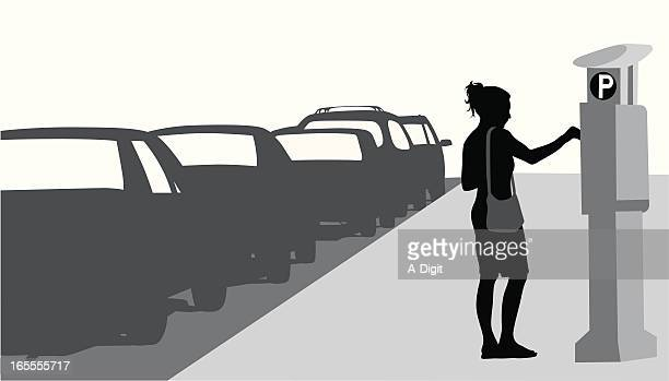 pay parking vector silhouette - parking stock illustrations, clip art, cartoons, & icons