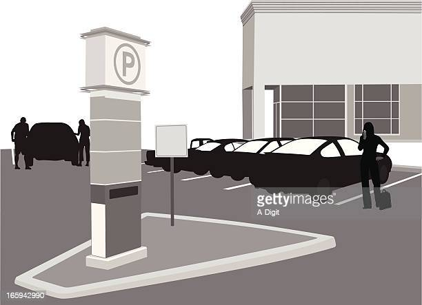 pay parking vector silhouette - parking sign stock illustrations