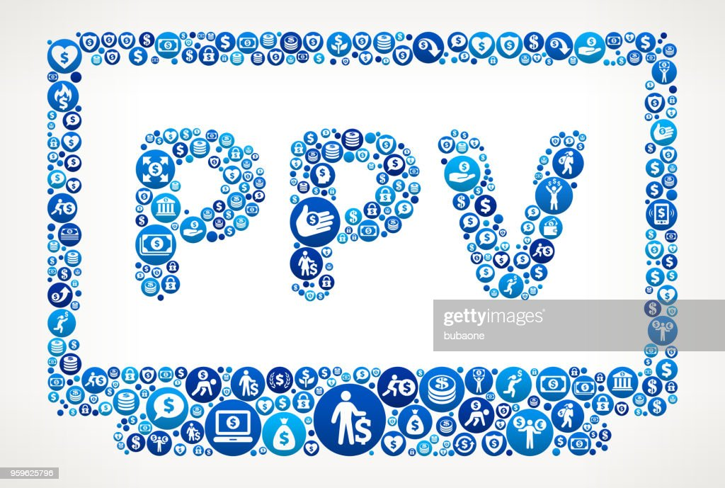 Pay-Per-View Geld blaues Symbol Muster Hintergrund : Stock-Illustration