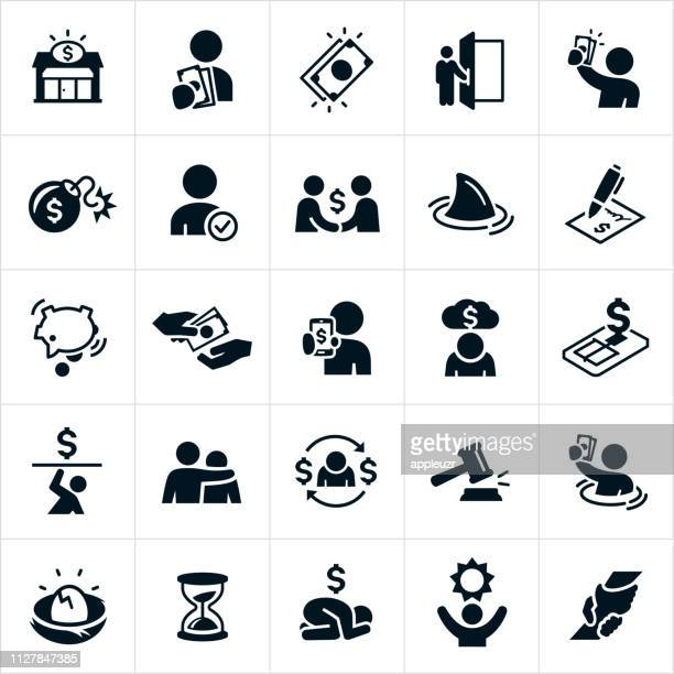 payday loan and debt icons - borrowing stock illustrations