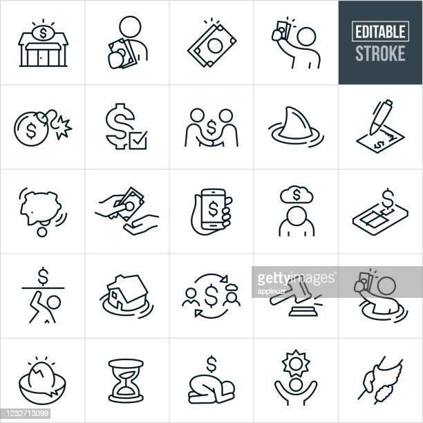 payday loan and debt thin line icons - editable stroke - borrowing stock illustrations
