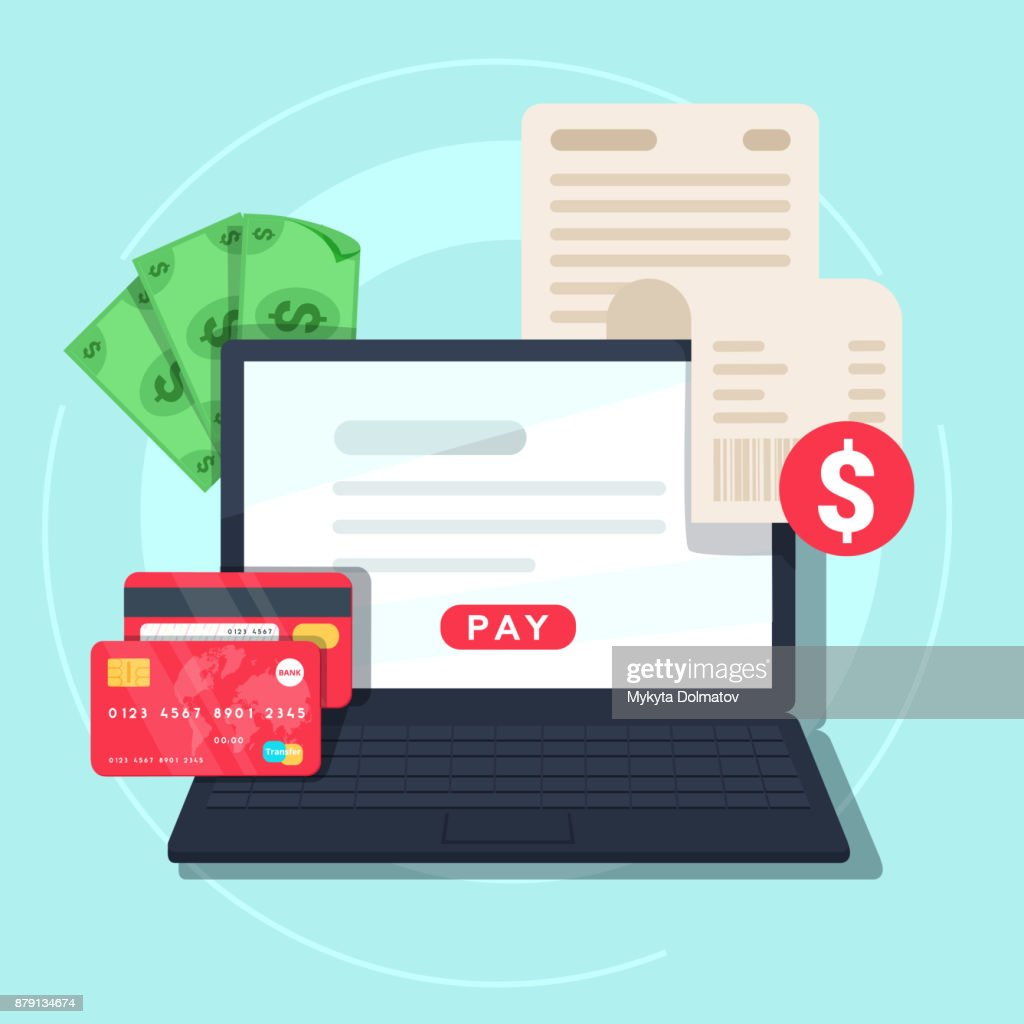 Paying bill online. Online Money Transaction Concept. Payment on internet concept.