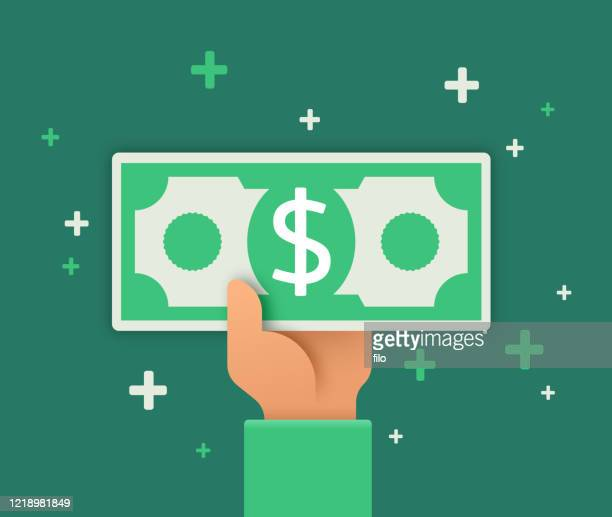 stockillustraties, clipart, cartoons en iconen met contant of ontvangen van contant geld - geld