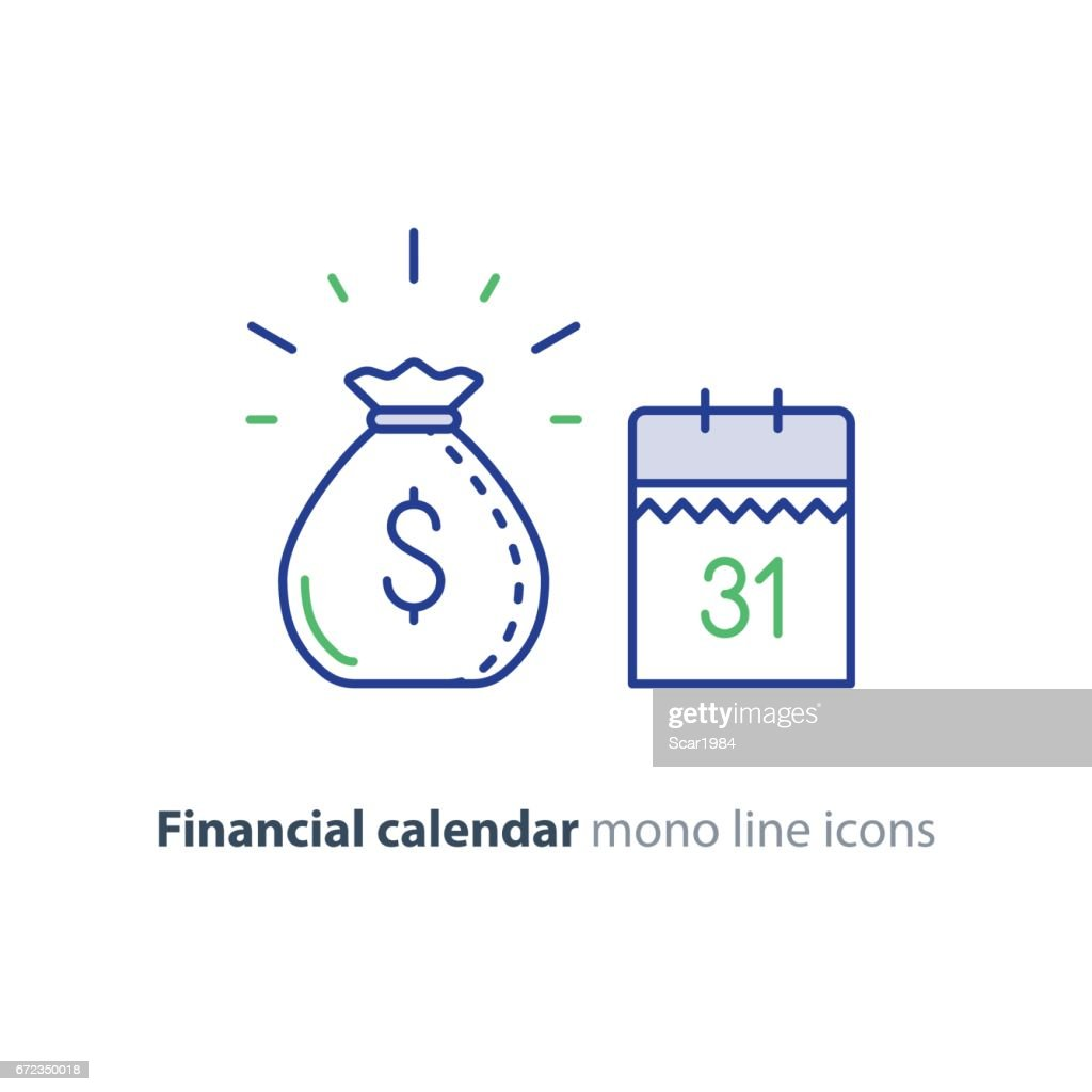 Payment day, finance calendar icon, income dividend, long term investment