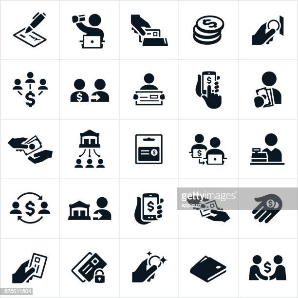 payment methods icons - cheque stock illustrations, clip art, cartoons, & icons