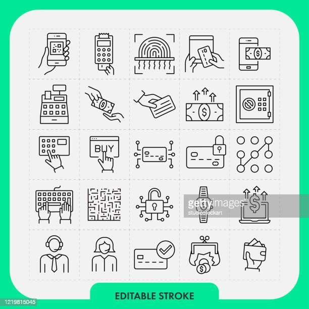 das positionssymbol für zahlungsmethoden wird festgelegt. bearbeitbarer strich - code stock-grafiken, -clipart, -cartoons und -symbole