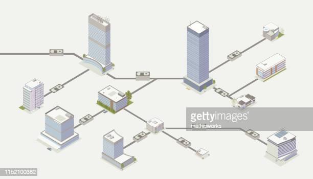 stockillustraties, clipart, cartoons en iconen met illustratie van betalingsnetwerk - bank financieel gebouw
