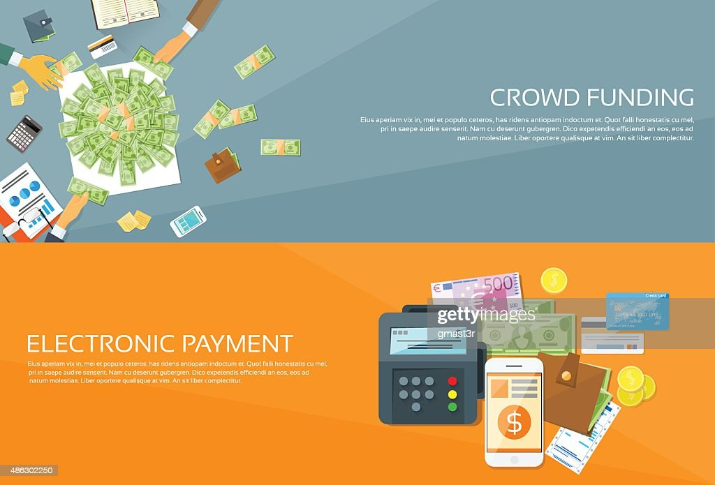 Payment Options Phone Money Credit Web Banner Set Vector Illustration