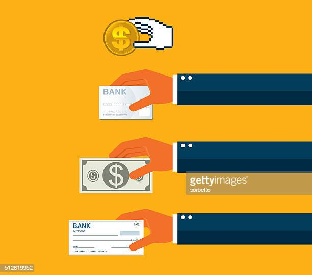 payment options - cheque stock illustrations, clip art, cartoons, & icons