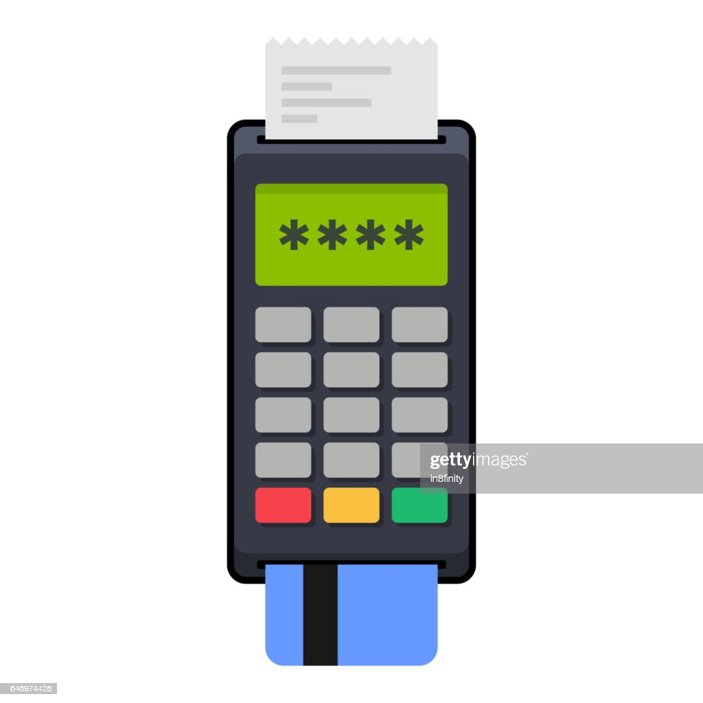 Payment POS Terminal with Card. Flat Style Icon. Vector