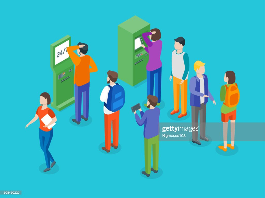 Payment Terminal and People Concept 3d Isometric View. Vector