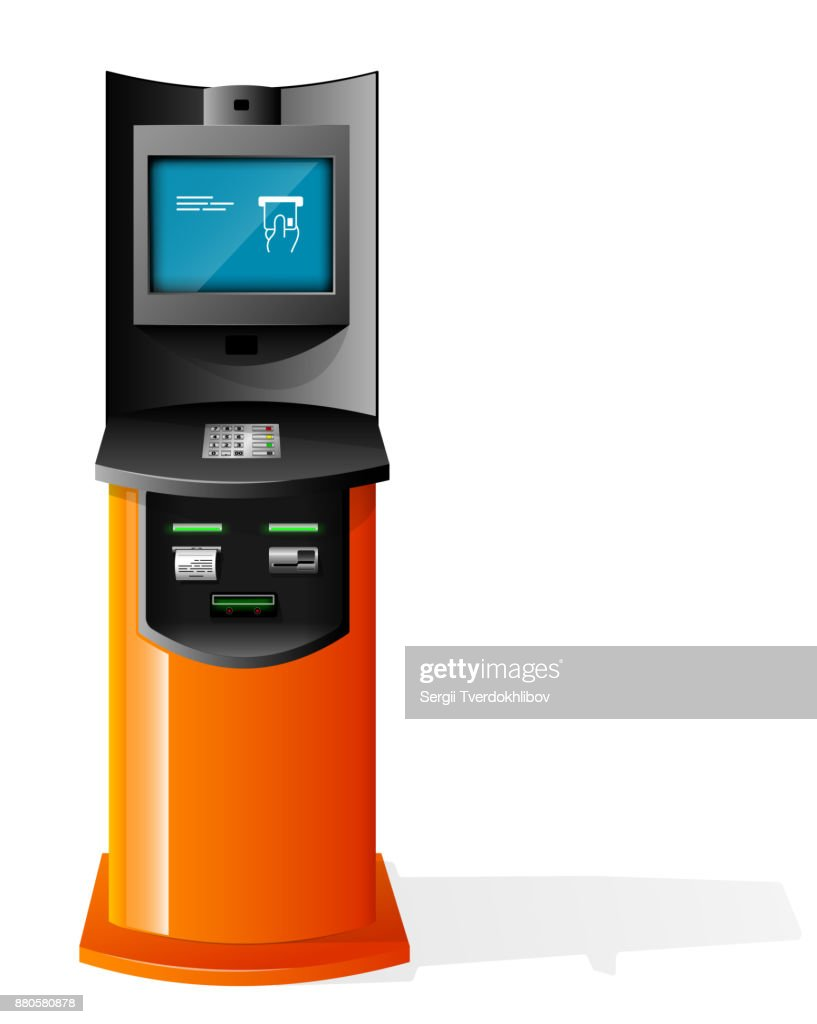 Payment Terminal, Automated Teller Machine, Advertising Stand On White Background. 3D Mock Up. Illustration Isolated On White Background. Vector EPS10