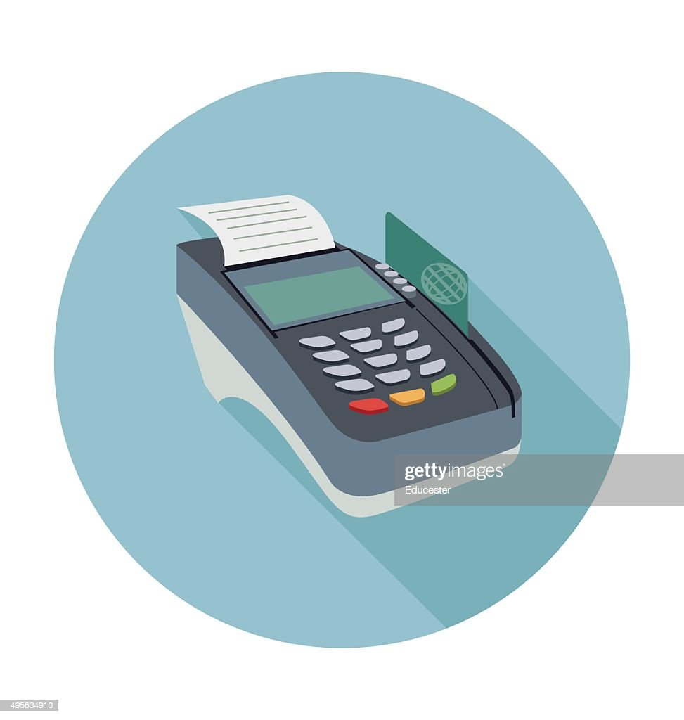 Payment Terminal Colored Vector Illustration