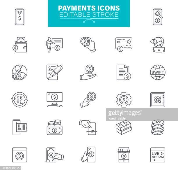 illustrazioni stock, clip art, cartoni animati e icone di tendenza di icone pagamenti tratto modificabile. il set contiene icone come carta di credito, pagamento mobile, acquisto - pagare