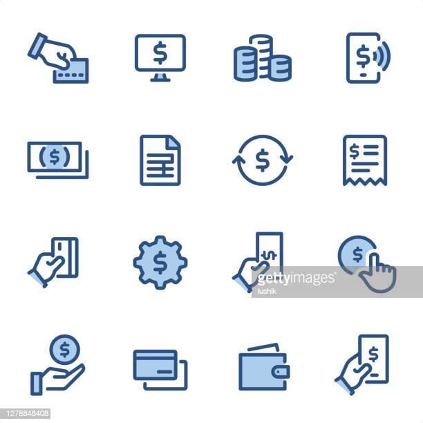 支払い - ピクセルパーフェクトブルーラインアイコン - 送る点のイラスト素材/クリップアート素材/マンガ素材/アイコン素材