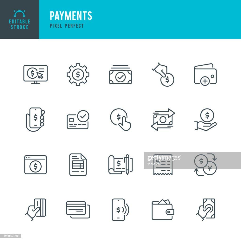 Betalingen-pictogram dunne lijn vector instellen. Pixel perfect. Bewerkbare lijn. De set bevat pictogrammen: betalen, contactloos betalen, creditcard aankoop, mobiele betaling, kopen, ontvangen van betaling, portemonnee. : Stockillustraties