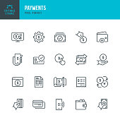 Payments - thin line vector icon set. Pixel perfect. Editable stroke. The set contains icons: Paying, Contactless Payment, Credit Card Purchase, Mobile Payment, Buying, Receiving Payment, Wallet.