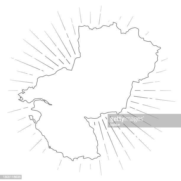 pays de la loire map with sunbeams on white background - loire atlantique stock illustrations