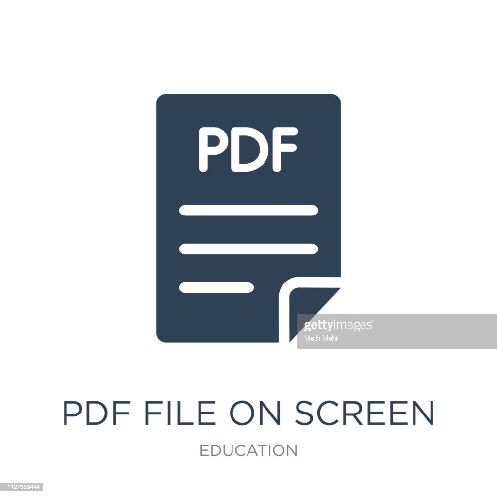 pdf file on screen icon vector on white background, pdf file on