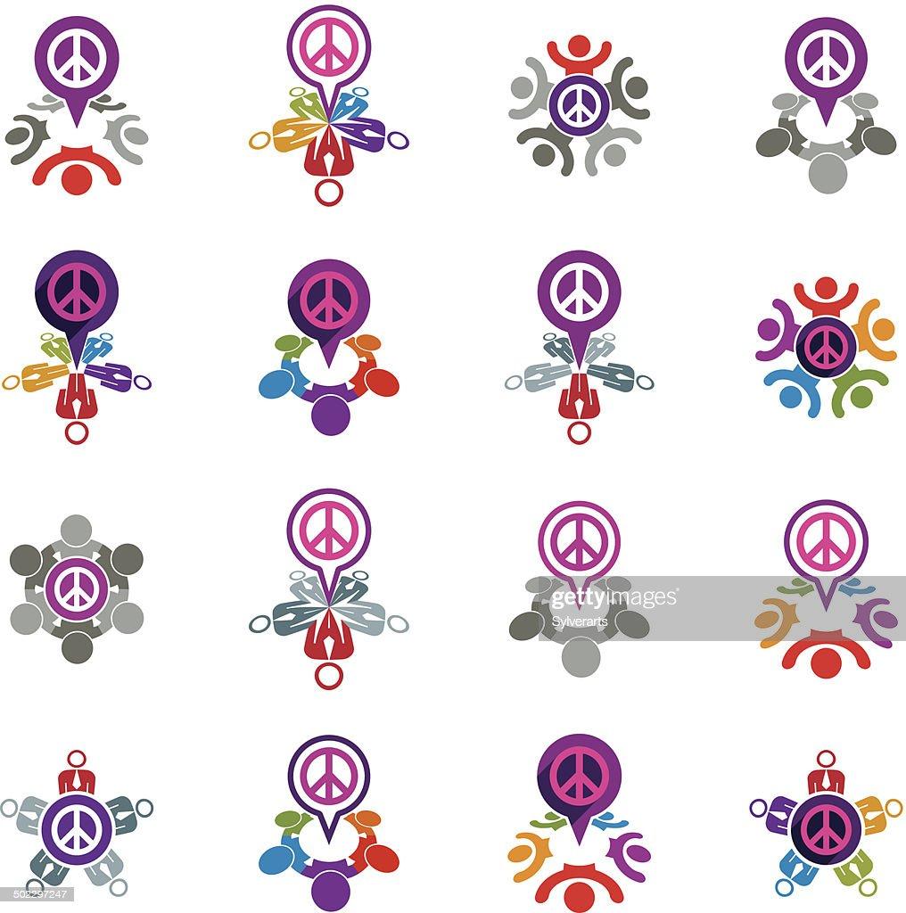 Peace and earth unusual vector icons set, creative symbols