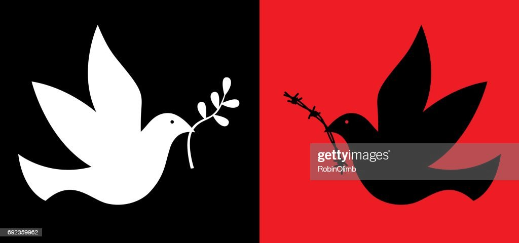 Peace And War Doves : Stock Illustration