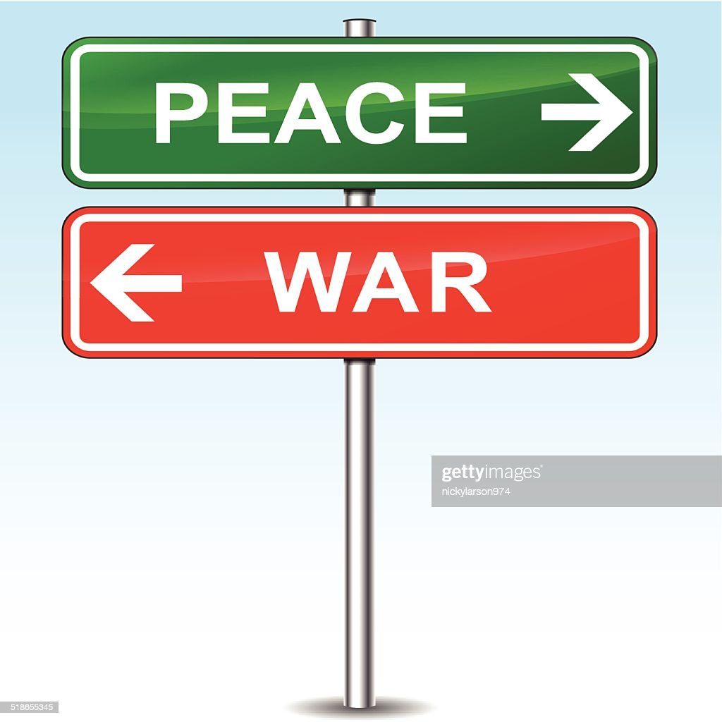 Peace and war sign concept