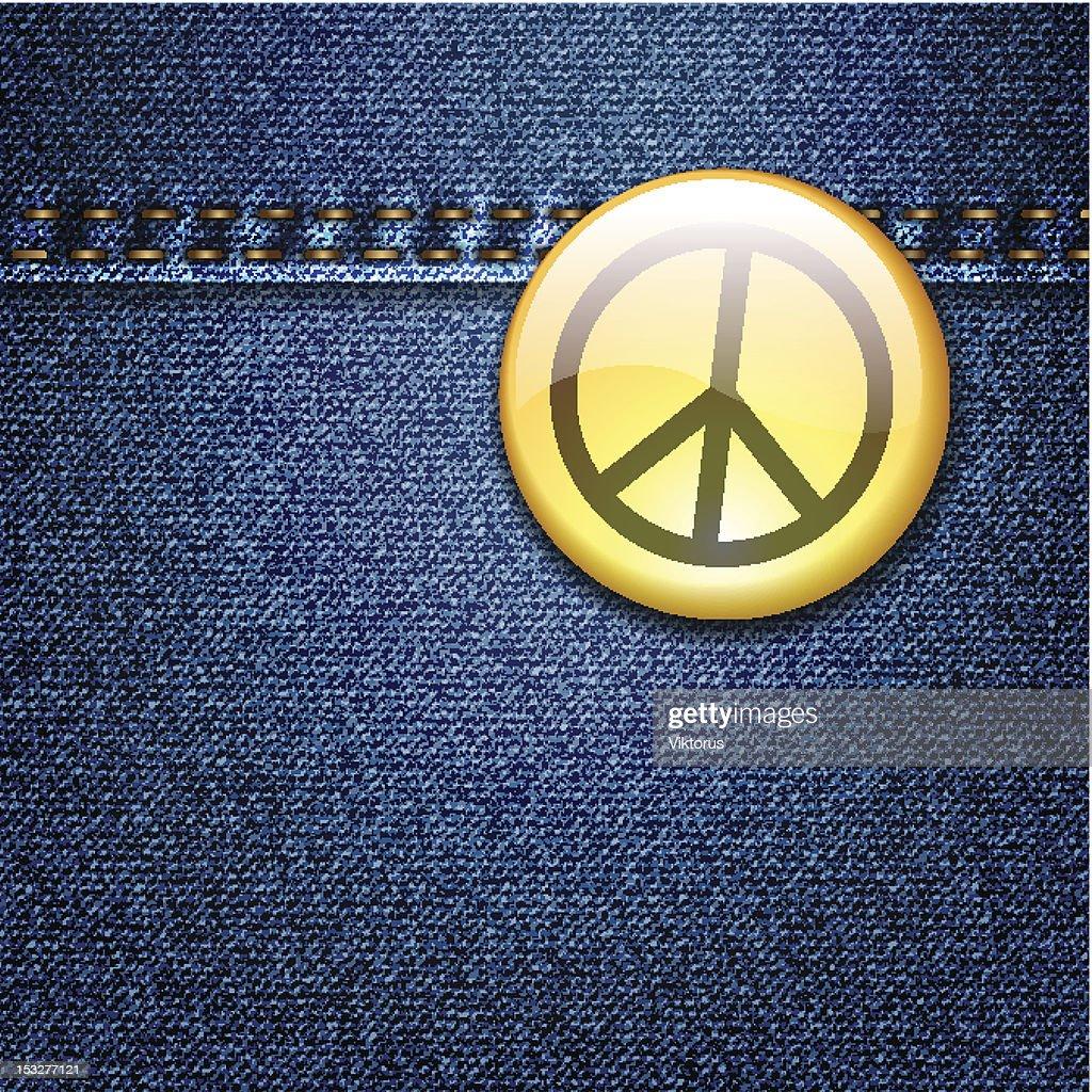 Peace badge on denim fabric texture vector