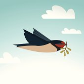 Peace bird with twig