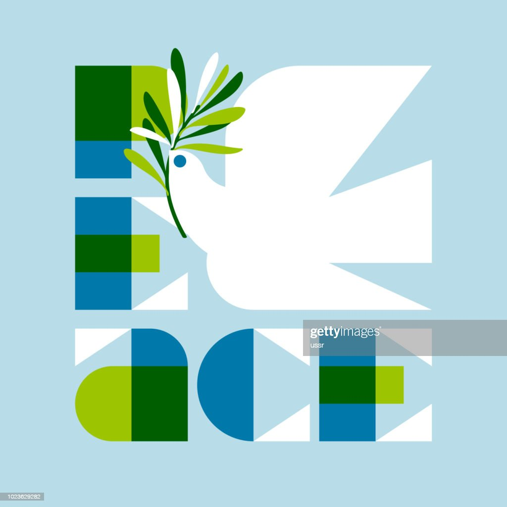 Peace day greeting card with elegant retro lettering and flying dove
