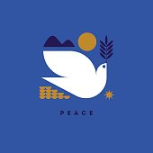 Peace day greeting card with flying dove and symbols of hope
