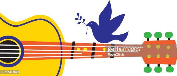 peace dove guitar - peace sign stock illustrations, clip art, cartoons, & icons