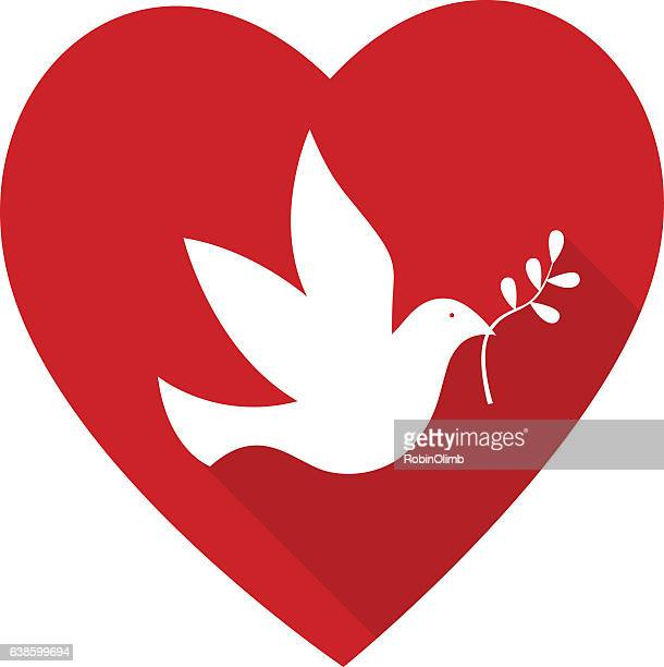 peace dove heart - peace stock illustrations, clip art, cartoons, & icons