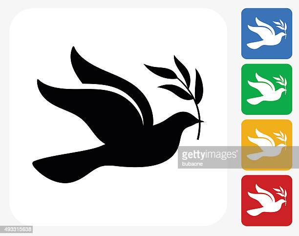 peace dove icon flat graphic design - peace stock illustrations, clip art, cartoons, & icons