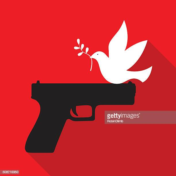peace dove sitting on hand gun - symbols of peace stock illustrations