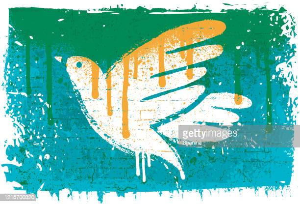 peace dove stencil on textured wall - dove bird stock illustrations